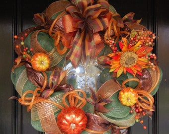Fall Autumn Green Mesh Wreath with Pumpkin and Flower