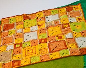 Sunlight Granny Square Blanket. Crochet Home Decor Blanket. Kid Stroller Throw. Baby Christening Gift. Handmade Custom Colors Blanket.