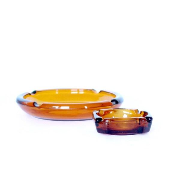 Amber Glass Ashtrays - Set of 2