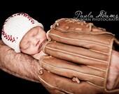Newborn Photo Prop,Baby Baseball Hat, Baby Baseball Beanie, Hand Knit Newborn Baseball Hat, Baby Boy Knit Hat, Baby Girl Baseball Hat