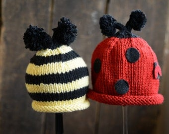 Newborn Twin Hat Set....Twins Newborn Photo Prop...Newborn Ladybug and Bumblebee Hat... Newborn Girl and Boy Knit Hat - Made to Order
