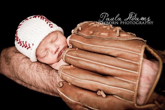 Baby Baseball Hat, Newborn Photo Prop,  Baby Baseball Beanie, Hand Knit Newborn Baseball Hat, Baby Boy Knit Hat, Baby Girl Baseball Hat
