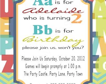 2nd Birthday Alphabet Party Invitation