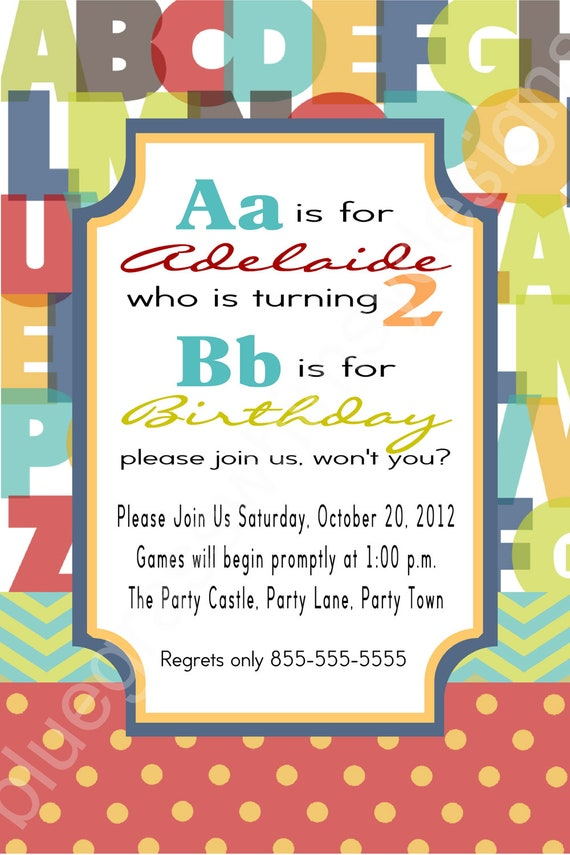 2nd birthday alphabet party invitation