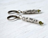 Vintage Paper Bead & Olive Green Swarovski Crystal Antiqued Brass Dangle Lever-back Earrings The Light Project