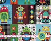 Designer Fabric By the Yard Gearheads Robot Fabric Gear Heads Robots Patch Fabric Robots fabric boy fabric Robot fabric patch