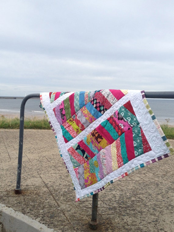 Contemporary Patchwork Modern Quilt or Baby Blanket in Bright Colours