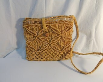 Vintage Mustard Yellow Macrame Purse