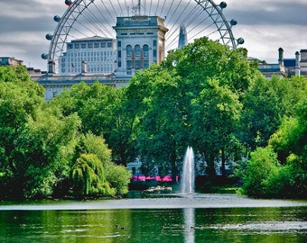London Eye from St James Park-London,England-ColorFine Art Photography-multiple Sizes Available,Travel, London, St James Park,