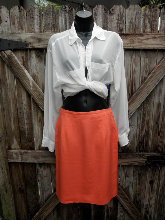 Vintage Coral Pencil Skirt Office Fashion- S