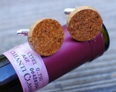 Wine Cork Cuff Links- Recycled, for Men's Dress Shirt