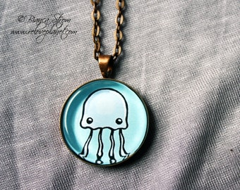 "Cute Jellyfish Jellymeme - 1"" Pendant Necklace - or 2 for 20 - ReLove Plan.et"
