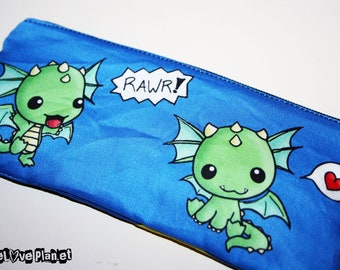 Dragons Zipper Purse Pouch - Kawaii cute Rawr Heart - Medium - Cosmetic Pencil Wallet - ReLove Plan.et