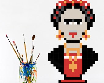 Frida Wall Decal, Stickers, Vinyl Adhesive 8bits Puxxle