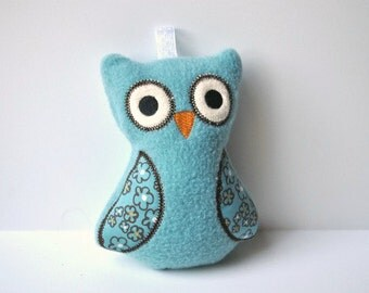 Soft Toys for Baby - Baby Rattle Toy - Baby Rattle - Blue and Brown Owl