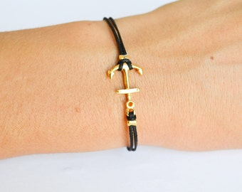 Anchor bracelet for women, black cord bracelet with gold plated anchor charm, Birthday gift, minimalist nautical jewelry, gift for her