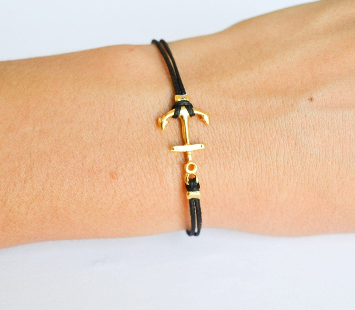 anchor bracelet for women black cord bracelet with gold. Black Bedroom Furniture Sets. Home Design Ideas