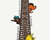 Growth Chart CM: Eiffel Tower Zoo - Height Chart Wall Decal / Vinyl Sticker