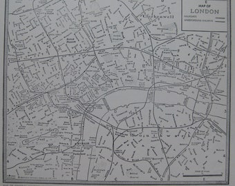 1942 LONDON Map Antique 1940s Map of London Black and White Gallery Wall Art 6713
