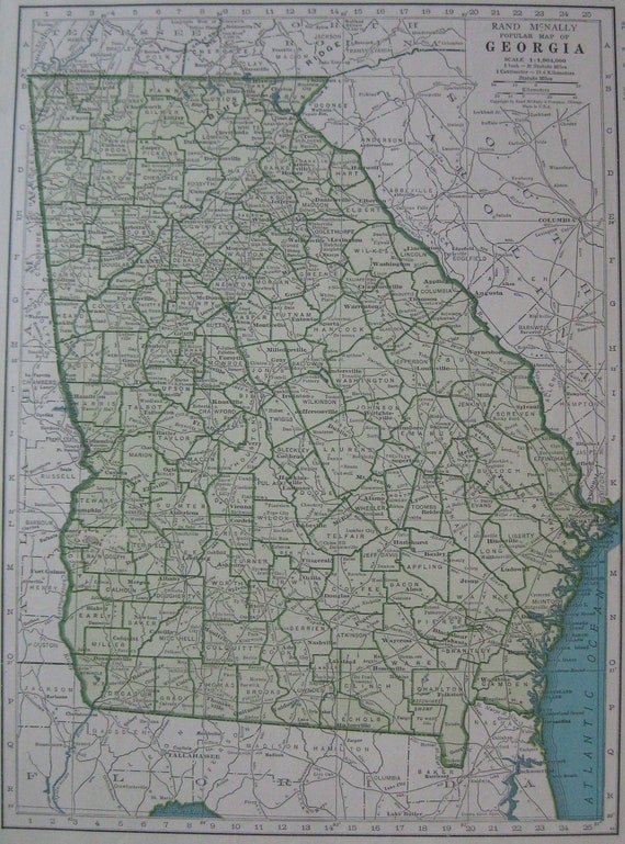 Vintage GEORGIA Map 1940s State Map Of Georgia From 1944 Wall