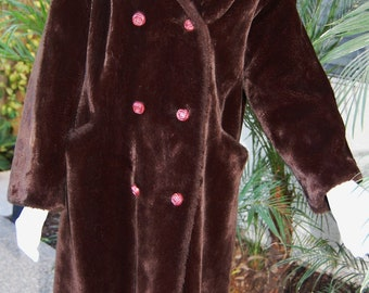 "Vintage Faux Fur Chocolate Brown Coat by ""Borgana, Styled by Fairmoor"""