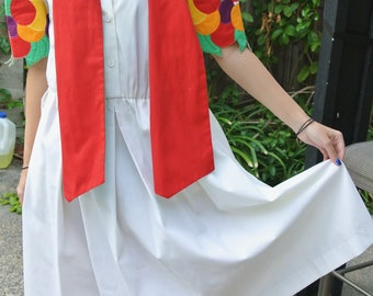 """Vintage """"NRI by Ned Gould"""" white dress with bright appliqued sleeve and matching scarf"""