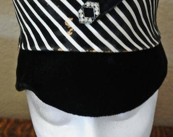 Vintage Black Velvet Hat with Black and White Striped Band.