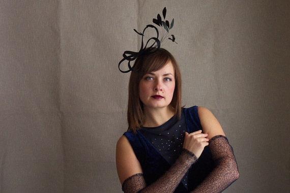 RESERVED FOR DENISE - Black sinamay ribbon fascinator