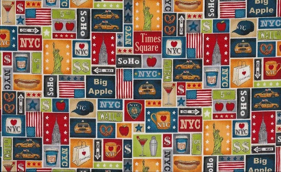 1 Yard Of New York Block Fabric Patchwork By BeeYourselfFabrics
