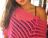 Pink Skirt or Shawl Triangle Triangle Shawl or Skirt Pink Crocheted Triangle Jacket Top Bottom Size Small