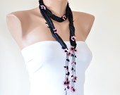 Black Silk Wrap Scarf, Beaded Silk Necklace, Crochet Oya Jewelry, Pink Flowers Skinny Scarf, Jewelry Foulard, Beadwork, Women's Gift