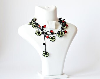 Crochet Necklace, Oya Wrap Beaded Necklace, Gift For Her, Women's Gift, Red Burgeons Flowers Green Leaves Lariat Necklace, Jewelry Gift