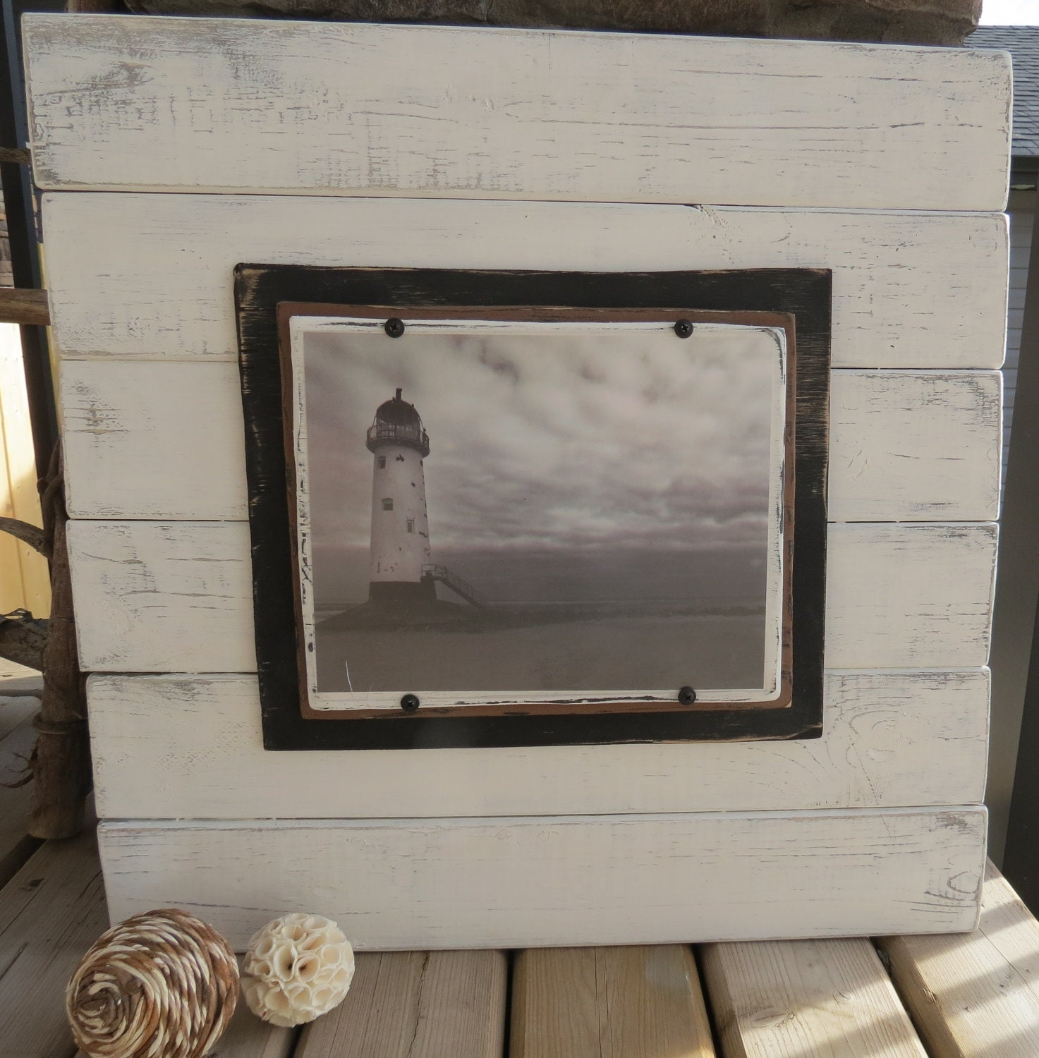 Distressed Wood White Plank Frame For 8x10 Picture Shabby