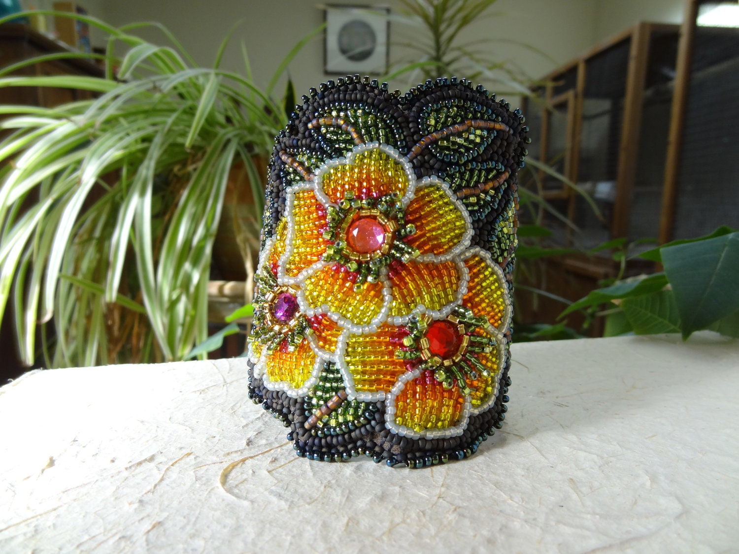 Beaded embroidery yellow flowers bracelet
