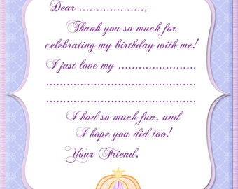 INSTANT DOWNLOAD - Printable Cinderella Inspired Thank You Card - Digital Design