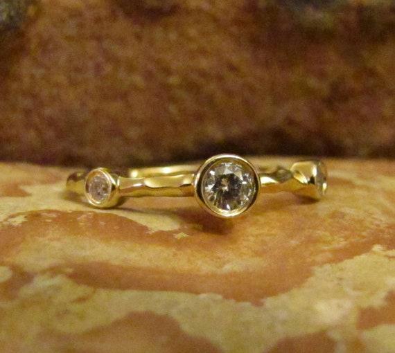Diamond Vintage Engagement Ring, Yellow Gold Ring, Three Stone Wedding Band Gaudi