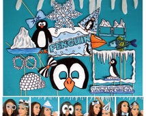 Antarctica penguin photo booth props perfect for your themed birthday party, winter wonderland or holiday celebration
