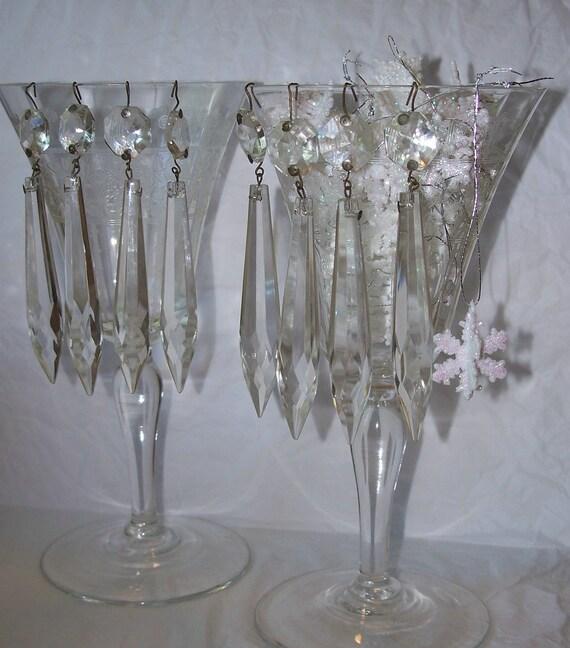 Eight  Vintage Chandelier Glass Prism U Drop, Plug Drop, Spears, Tear Drop, Icicle Shapes