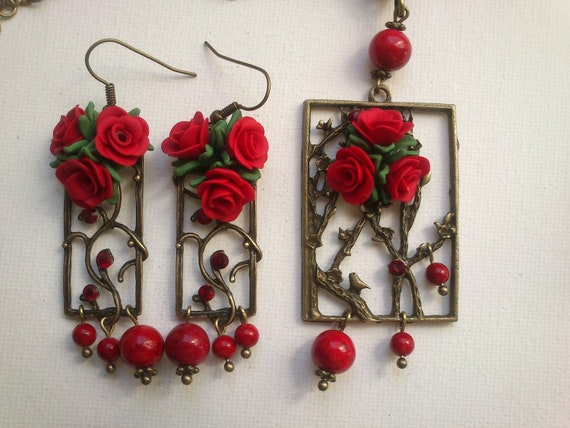 Red jewelry - Red roses - Polymer clay jewelry