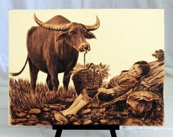 "Buffalo, Sleeping, Leaf-burned, Pyrography, 12""x16"""