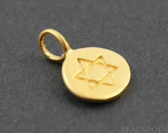 24K Gold Plated Sterling Silver Star of David Charm/ Pendant, Beautiful Meditation Finding, (VM/CH2/CR12)