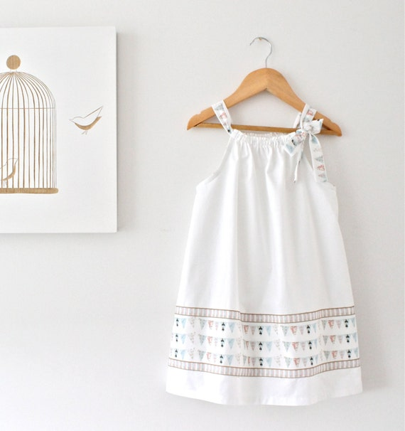 Toddler Girls Crisp White Summer Dress-French by ChasingMini