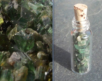 Chrome GREEN Tourmaline crystals in a Glass bottle with Natural cork top Rare PREMIUM Mineral gift