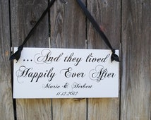 And They Lived Happily Ever After with Here Comes the Bride wood wedding sign for Ring Bearer Flower Girl DOUBLE SIDED