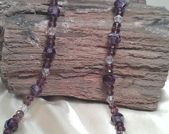Swirled Purple White Lampworks Beaded Necklace with Swarovski Crystals and Decorative Toggle Clasp Closure