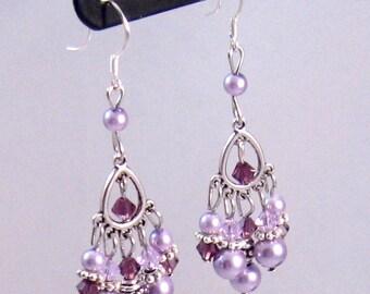 Purple Swarovski Crystal & Pearl Chandelier Earrings, Purple Jewelry, Purple Earrings, Fall Jewelry, Birthday Gifts