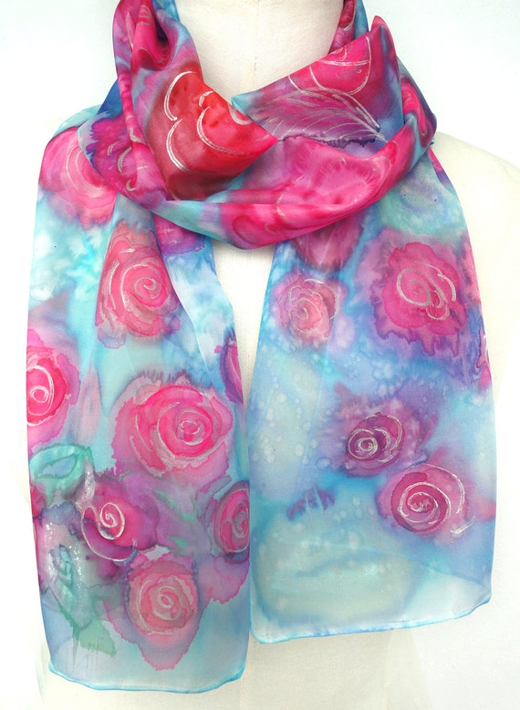 Pink Silk Scarf. Hand Painted Long Silk Scarf. Blue, Fuchsia Roses Scarf. Women Handmade Scarves. 10x60 in. (25x150 cm). Ready to Ship.