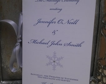 Winter Wonderland Themed Wedding Ceremony Programs Folded with Ribbon - Personalized Color and Motif at no extra charge