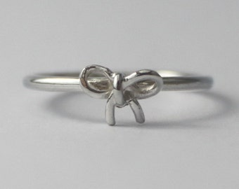 Sterling Silver Tiny Bow, 925 petite stacking Ring, Christmas stocking gift, friendship ring