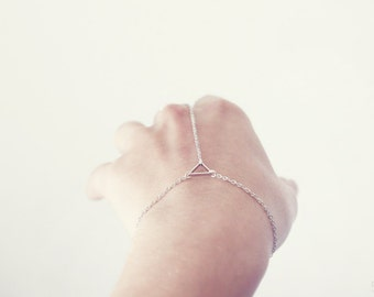 triangle hand chain - delicate geometric jewelry / gift for her under 20